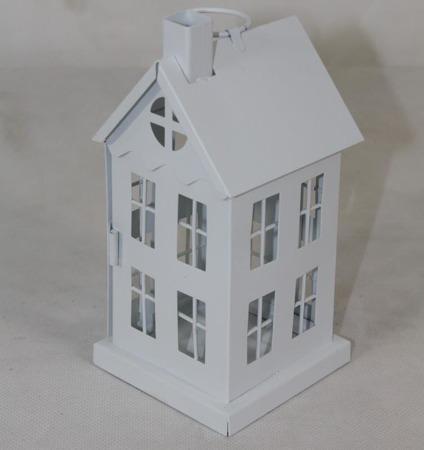 Lampion metalowy biały domek 17x8x8