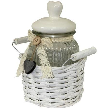 Słoik szklany w koszyku wiklinowym białym  22x20x15