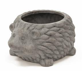 Doniczka Jeż ozdobiony ceramika kolor szary H9,5cm