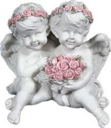 Figurka Para Aniołków z Bukietem Biały 12x13x11 cm