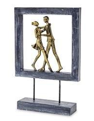 Figurka Para ramka niebieski złoty taniec 28x19cm