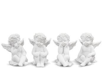 Figurka Siedzący Aniołek Biały 4 Opcje, 6,5x5x6 cm