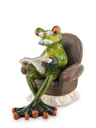 Figurka Żaba Dziadek z gazetą na fotelu wys. 11cm