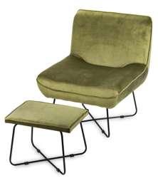 Fotel Z Podnóżkiem oliwkowy Tapicerowany