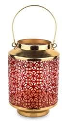 Lampion metalowy złoty H: 35 cm