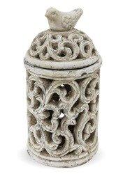 Lampion zdobiony kamień ptak Ceramika H:29cm
