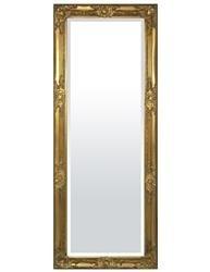 Lustro prostokątne złote drewniane 52x132x3 cm