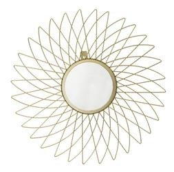 Metalowe Lustro Dekoracyjne Kwiat, Złoty 44x44x1,5