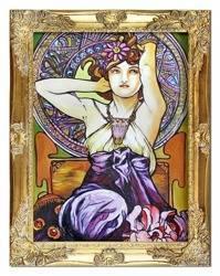 """Obraz """"Alfons Mucha"""" ręcznie malowany 37x47cm"""