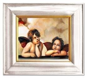 Obraz - Anioły - olejny, ręcznie malowany 43x48cm