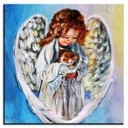 """Obraz """"Anioły"""" ręcznie malowany 30x30cm"""