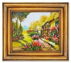 Obraz - Dworki, mlyny, chaty, - olejny, ręcznie malowany 37x42cm