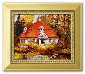 """Obraz """"Dworki, mlyny, chaty,"""" ręcznie malowany 27x32cm"""