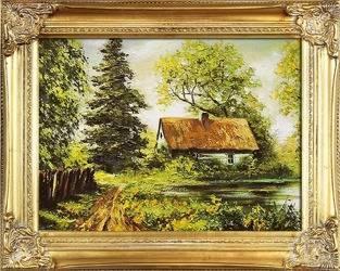 """Obraz """"Dworki, mlyny, chaty,"""" ręcznie malowany 37x47cm"""
