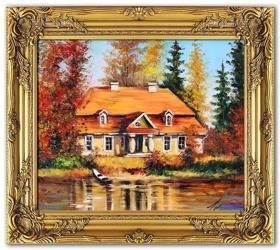 """Obraz """"Dworki, mlyny, chaty,"""" ręcznie malowany 54x64cm"""