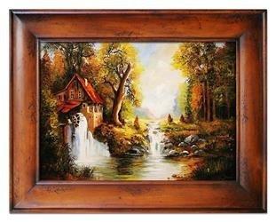 """Obraz """"Dworki, mlyny, chaty,"""" ręcznie malowany 87x117cm"""