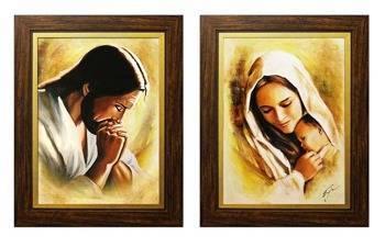 """Obraz """"Inne- religijne"""" ręcznie malowany 27x32cm x 2"""