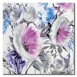 Obraz - Kwiaty nowoczesne - olejny, ręcznie malowany 40x40cm