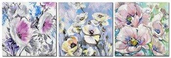 """Obraz """"Kwiaty nowoczesne"""" ręcznie malowany 60x60cm  x3"""