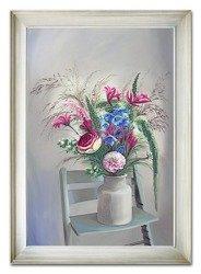"""Obraz """"Kwiaty nowoczesne"""" ręcznie malowany 75x105cm"""
