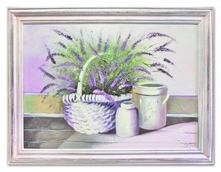 """Obraz """"Lawenda."""" ręcznie malowany 63x84cm"""