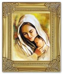 Obraz - Maryja - olejny, ręcznie malowany 27x32cm