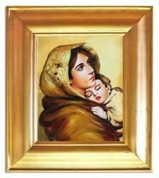 """Obraz """"Maryja"""" ręcznie malowany 43x48cm"""