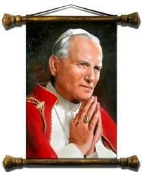 Obraz - Papież Jan Paweł II - olejny, ręcznie malowany 37x62cm