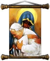 """Obraz """"Papież Jan Paweł II"""" ręcznie malowany 37x62cm"""