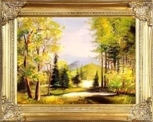 """Obraz """"Pejzaz tradycyjny"""" ręcznie malowany 37x47cm"""