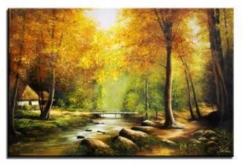 """Obraz """"Pejzaz tradycyjny"""" ręcznie malowany 60x90cm"""