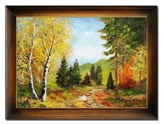 """Obraz """"Pejzaz tradycyjny"""" ręcznie malowany 63x83cm"""
