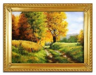 """Obraz """"Pejzaz tradycyjny"""" ręcznie malowany 68x88cm"""
