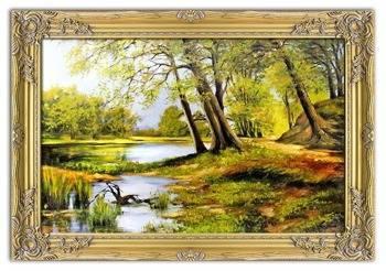 """Obraz """"Pejzaz tradycyjny"""" ręcznie malowany 78x108cm"""