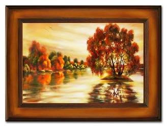 """Obraz """"Pejzaz tradycyjny"""" ręcznie malowany 86x116cm"""
