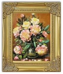 Obraz - Piwonie - olejny, ręcznie malowany 27x32cm