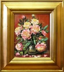 """Obraz """"Piwonie"""" ręcznie malowany 43x48cm"""