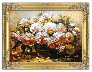 """Obraz """"Piwonie"""" ręcznie malowany 63x83cm"""