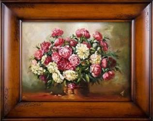 """Obraz """"Piwonie"""" ręcznie malowany 76x96cm"""