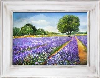 """Obraz """"Pola lawendowe"""" ręcznie malowany 72x92cm"""