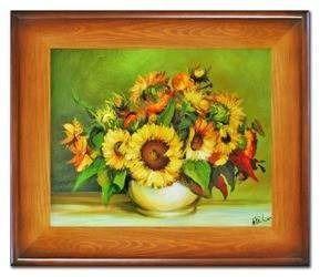 """Obraz """"Sloneczniki"""" ręcznie malowany 61x71cm"""