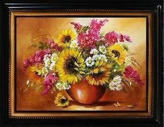 """Obraz """"Sloneczniki"""" ręcznie malowany 64x84cm"""