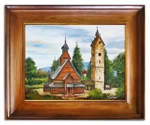 """Obraz """"Swiatynia Wang"""" ręcznie malowany 54x55cm"""