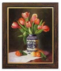 Obraz - Tulipany - olejny, ręcznie malowany 53x64cm