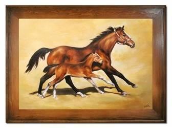 """Obraz """"Zwierzęta"""" ręcznie malowany 82x112cm"""