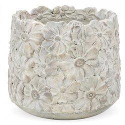 Osłonka cementowa szara wzór kwiatowy 20x21x21