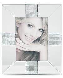 Srebrna Foto Ramka klasyczna zdobiona Kryształkami
