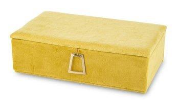 Szkatułka Na Biżuterię kuferek żółty aksamit