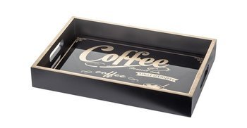 Taca Ozdobna Coffee Prostokątna Czarna 5,5x34,5 cm