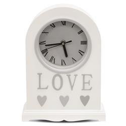Zegar kominkowy ozdobny drewno biały LOVE